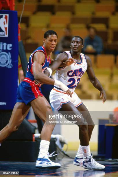 Tyrone Corbin of the Cleveland Cavaliers posts up against Dennis Rodman of the Detroit Pistons circa 1987 at the Richfield Coliseum in Richfield Ohio...