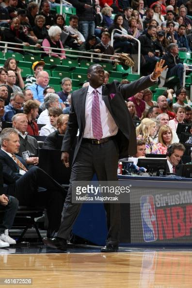 Tyrone Corbin of the Utah Jazz calls a play during the game against the Memphis Grizzlies at EnergySolutions Arena on March 26 2014 in Salt Lake City...