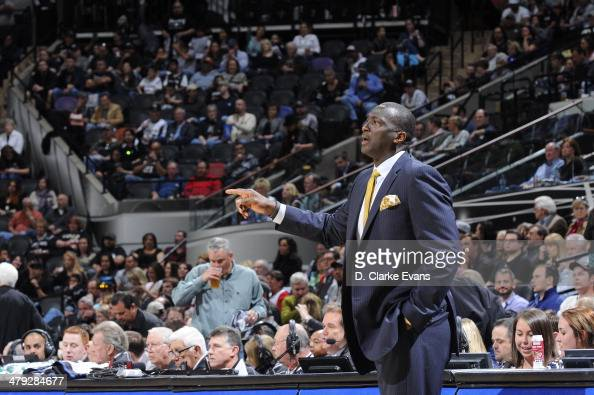 Tyrone Corbin of the Utah Jazz during the game against the San Antonio Spurs at the ATT Center on March 16 2014 in San Antonio Texas NOTE TO USER...
