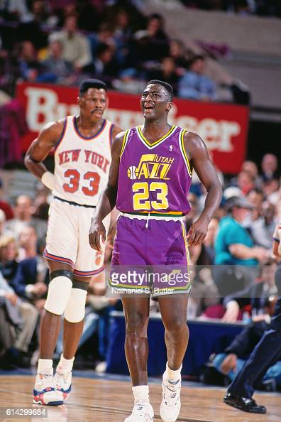 Tyrone Corbin of the Utah Jazz looks on against the New York Knicks during a game played circa 1993 at Madison Square Garden in New York New York...