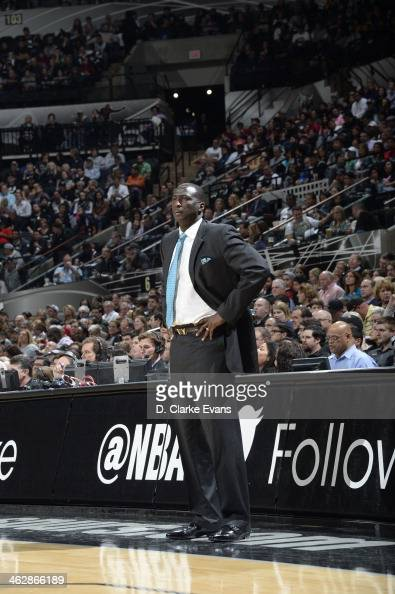 Tyrone Corbin of the Utah Jazz looks on during the game against the San Antonio Spurs at the ATT Center on January 15 2014 in San Antonio Texas NOTE...