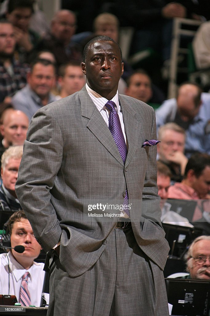 Tyrone Corbin of the Utah Jazz stands on the sideline during the game against the Oklahoma City Thunder on February 12, 2013 in Salt Lake City, Utah.