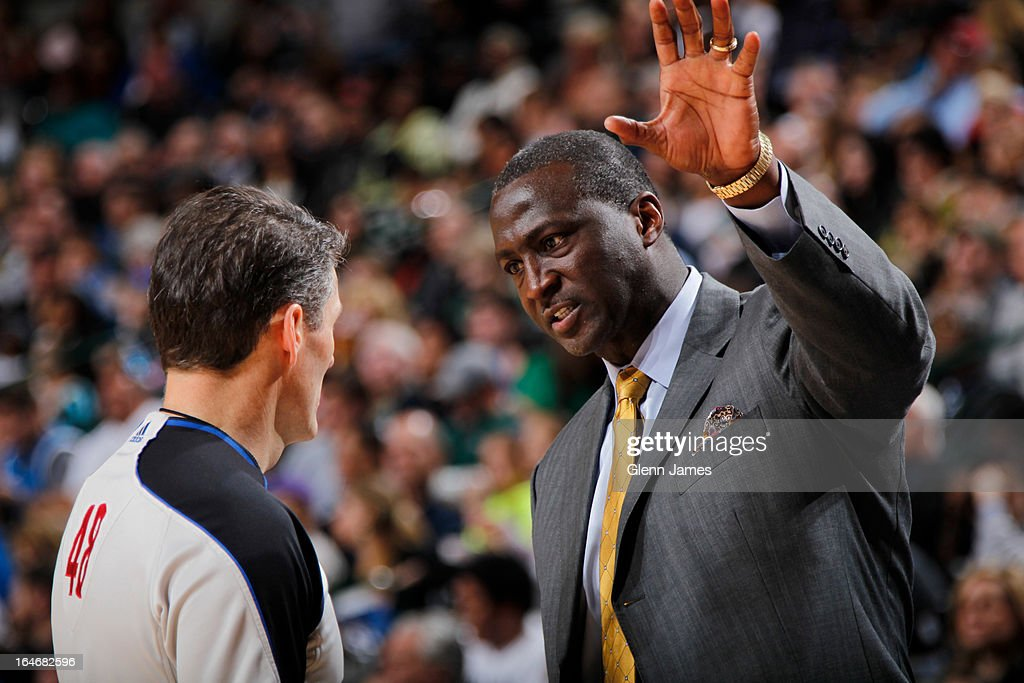 Tyrone Corbin of the Utah Jazz talks to referee Scott Foster during the game against the Dallas Mavericks on March 24 2013 at the American Airlines...