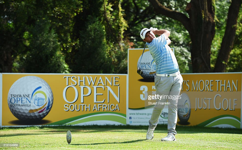 Tyrone Ferreira of South Africa plays a shot during the final round of the Tshwane Open at Pretoria Country Club on February 14, 2016 in Pretoria, South Africa.