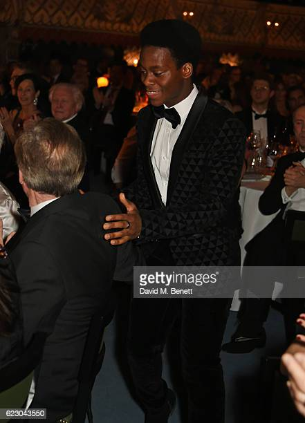 Tyrone Huntley winner of the Emerging Talent Award in partnership with Burberry accepts his award at the 62nd London Evening Standard Theatre Awards...