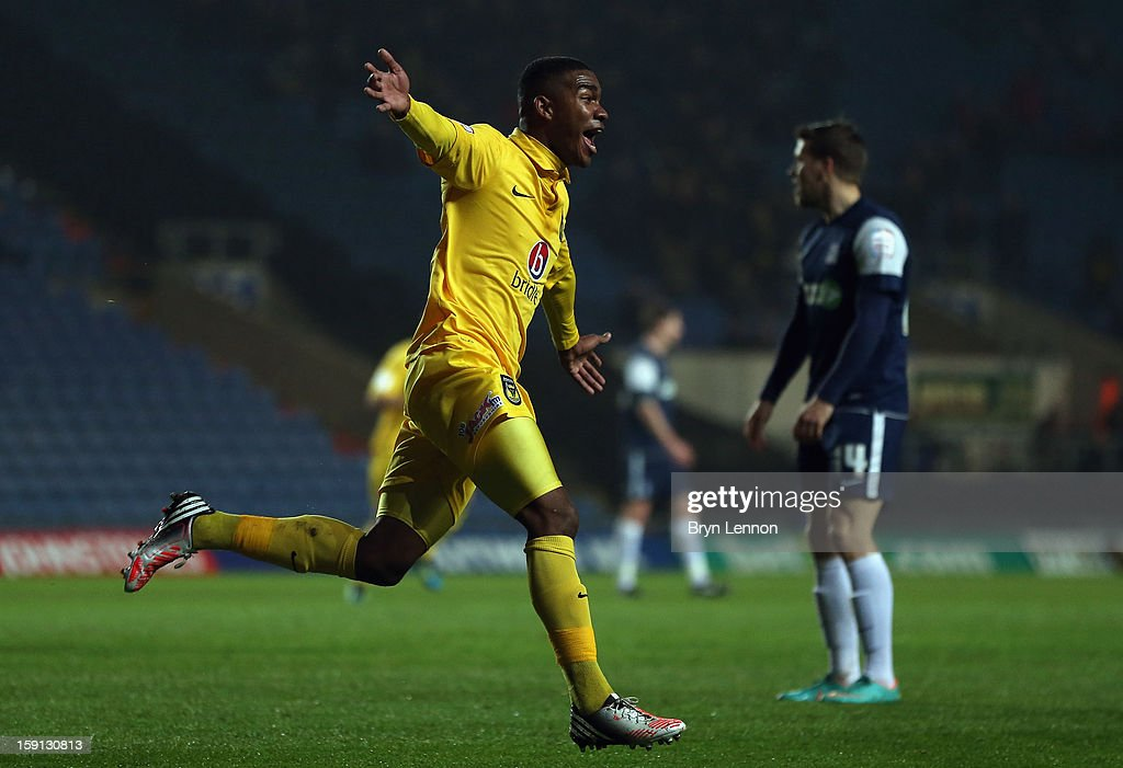 Tyrone Marsh of Oxford United celebrates scoring during the Johnstone's Paint Trophy Southern Section Semi Final between Oxford United and Southend United at the Kassam Stadium on January 8, 2013 in Oxford, England.