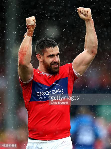 Tyrone McCarthy of Hull KR celebrates at fulltime following the Ladbrokes Challenge Cup SemiFinal match between Warrington Wolves and Hull KR at the...