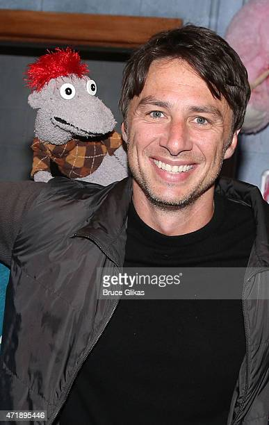 'Tyrone McHansely' and Zach Braff pose backstage at 'Hand to God' on Broadway at The Booth Theater on May 1 2015 in New York City