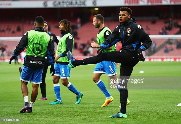 Tyrone Mings of AFC Bournemouth warms up prior to kick off during the Premier League match between Arsenal and AFC Bournemouth at Emirates Stadium on...