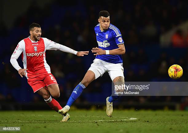 Tyrone Mings of Ipswich Town beats David Davis of Birmingham City during the Sky Bet Championship match between Ipswich Town and Birmingham City at...
