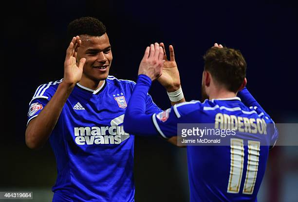 Tyrone Mings of Ipswich Town celebrates with team mate Paul Anderson as he scores their first goal during the Sky Bet Championship match between...