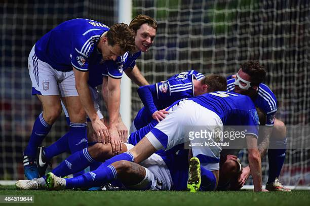 Tyrone Mings of Ipswich Town celebrates with team mates as he scores their first goal during the Sky Bet Championship match between Ipswich Town and...