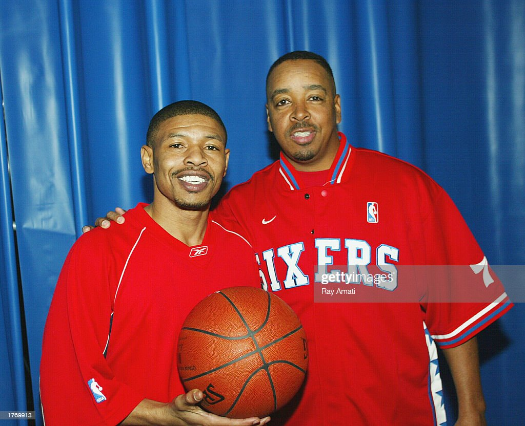 Tyrone 'Mugsy' Bogues and Anthony 'Spud' Webb pose for a photo prior to the Celebrity Game at the NBA Jam Session at the Georgia World Congress...