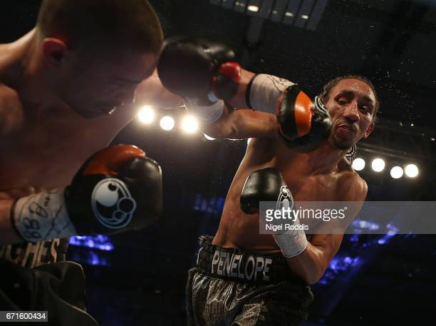 Tyrone Nurse in action against Joe Hughes in their British SuperLightweight fight at the Leicester Arena on April 22 2017 in Leicester England