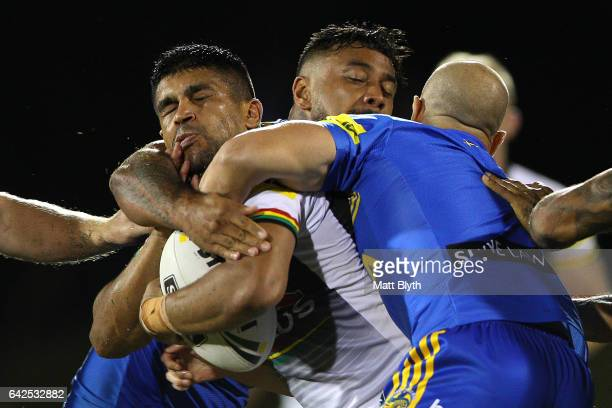 Tyrone Peachey of the Panthers is tackled during the NRL Trial match between the Penrith Panthers and Parramatta Eels at Pepper Stadium on February...