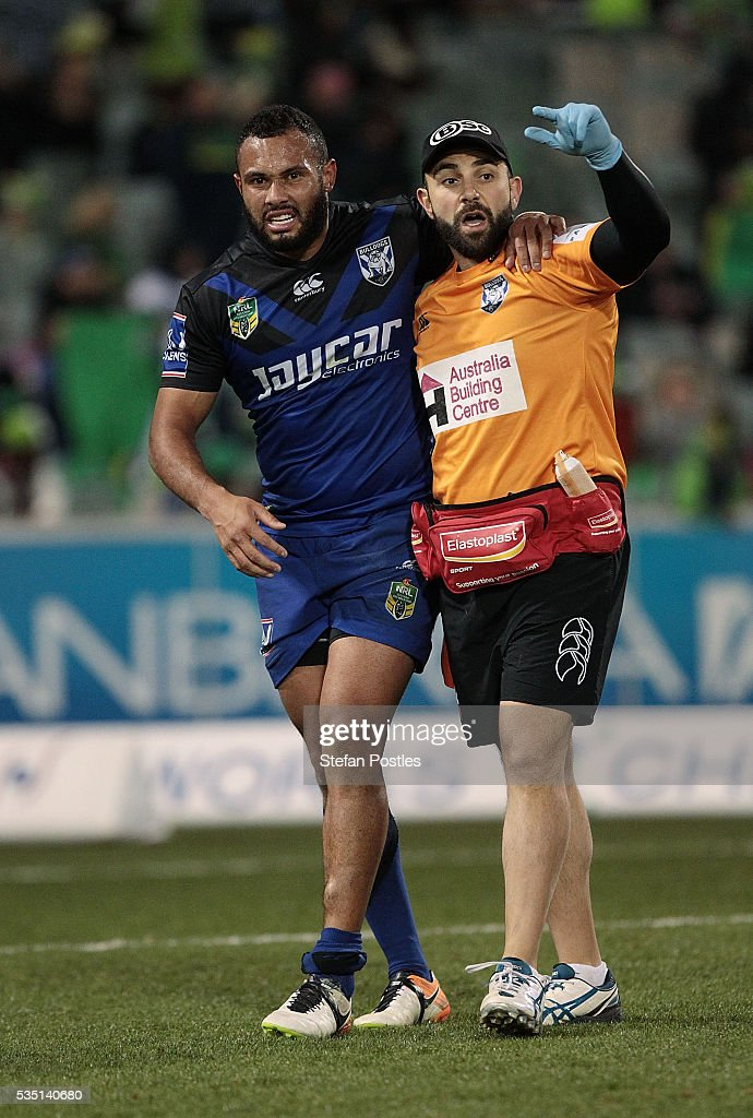 Tyrone Ranuku Phillips of the Bulldogs comes off injured during the round 12 NRL match between the Canberra Raiders and the Canterbury Bulldogs at GIO Stadium on May 29, 2016 in Canberra, Australia.