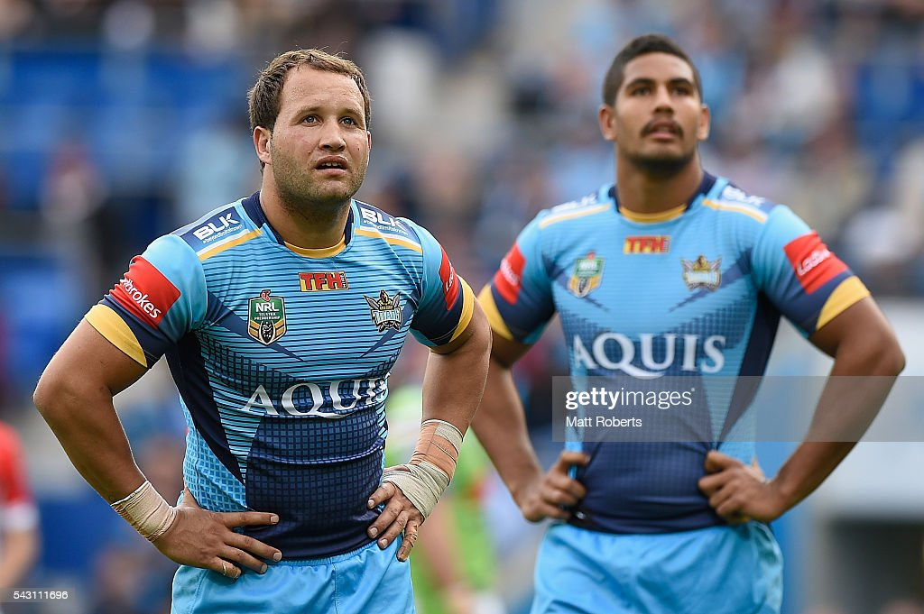 Tyrone Roberts of the Titans looks on during the round 16 NRL match between the Gold Coast Titans and the Canberra Raiders at Cbus Super Stadium on June 26, 2016 in Gold Coast, Australia.