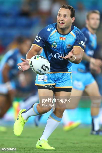 Tyrone Roberts of the Titans passes during the round three NRL match between the Gold Coast Titans and the Parramatta Eels at Cbus Super Stadium on...