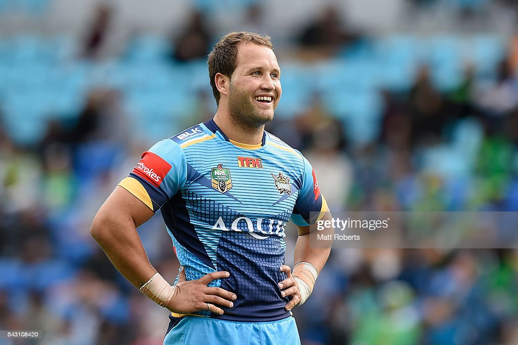 Tyrone Roberts of the Titans smiles during the round 16 NRL match between the Gold Coast Titans and the Canberra Raiders at Cbus Super Stadium on June 26, 2016 in Gold Coast, Australia.