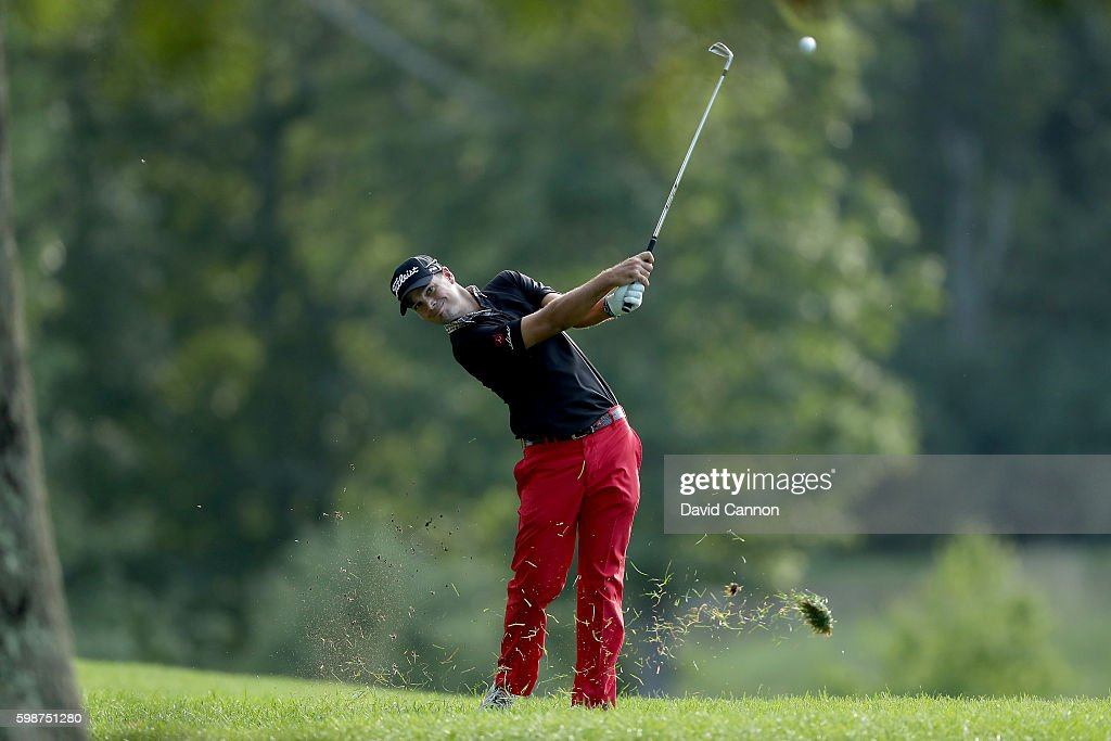 Tyrone Van Aswegen of South Africa plays his second shot on the 13th hole during the first round of the Deutsche Bank Championship at TPC Boston on September 2, 2016 in Norton, Massachusetts.