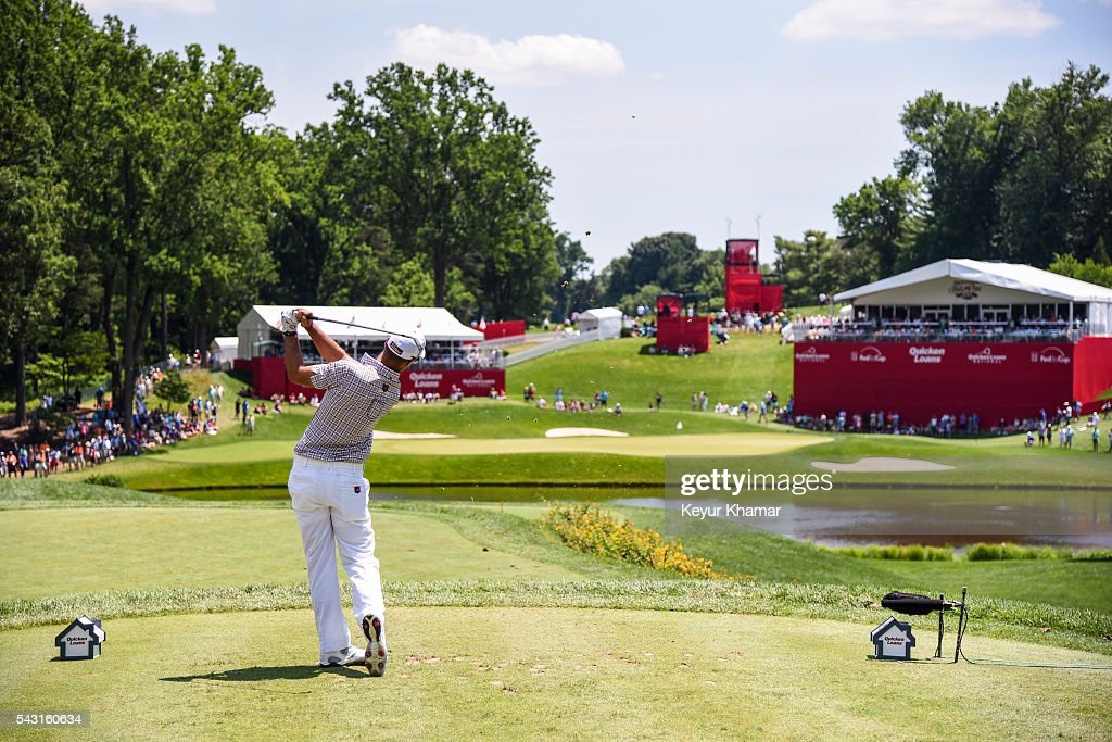Tyrone Van Aswegen of South Africa tees off on the 10th hole during the final round of the Quicken Loans National at Congressional Country Club (Blue) on June 26, 2016 in Bethesda, Maryland.