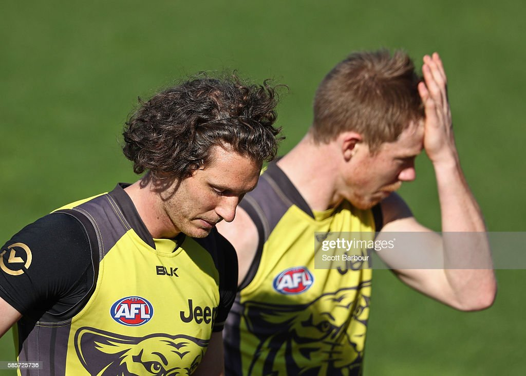 Tyrone Vickery and Jack Riewoldt of the Tigers look on during a Richmond Tigers AFL training session at Punt Road Oval on August 4, 2016 in Melbourne, Australia.