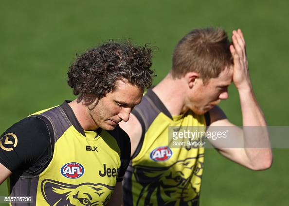 Tyrone Vickery and Jack Riewoldt of the Tigers look on during a Richmond Tigers AFL training session at Punt Road Oval on August 4 2016 in Melbourne...