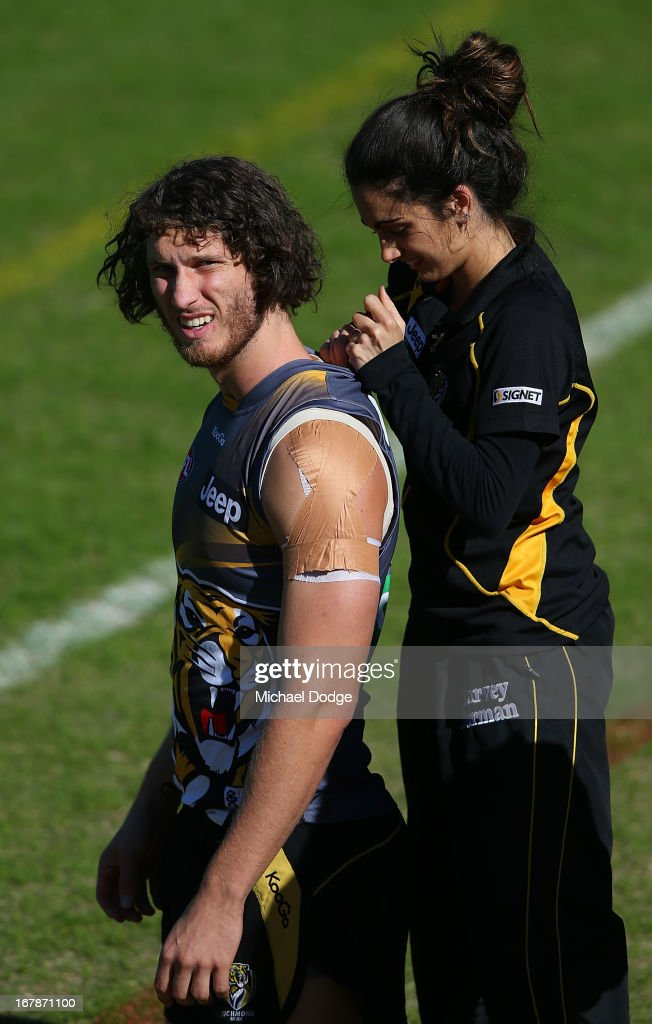 Tyrone Vickery has a GPS device inserted into his jumper during a Richmond Tigers AFL training session at ME Bank Centre on May 2, 2013 in Melbourne, Australia.