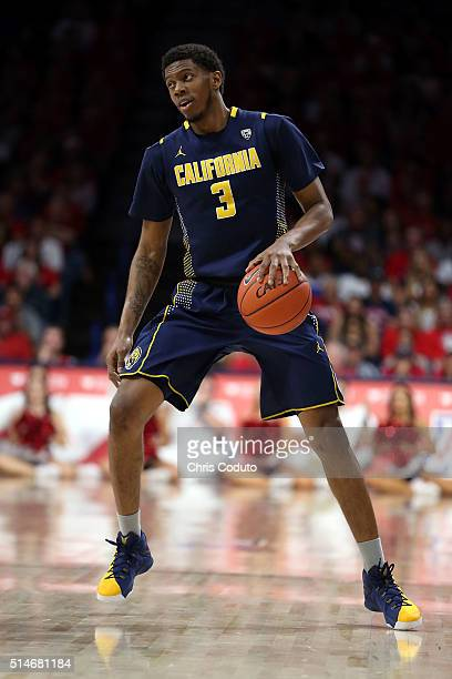 Tyrone Wallace of the California Golden Bears dribbles the ball during the second half of the college basketball game against the Arizona Wildcats at...