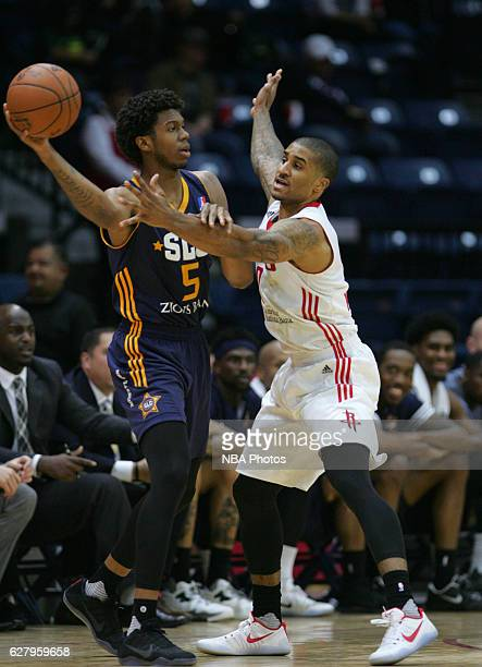 Tyrone Wallace of the Salt Lake City Stars looks to pass against Gary Payton II of the Rio Grande Valley Vipers on December 5 2016 at the State Farm...