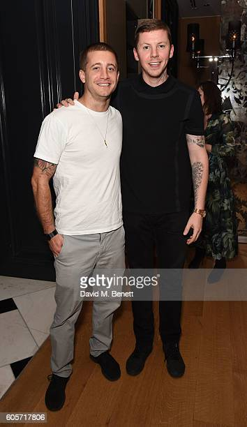 Tyrone Wood and Stephen Manderson attend a VIP dinner hosted by chef Gizzi Erskine to celebrate her brand new book 'Gizzi's Season's Eatings' at...