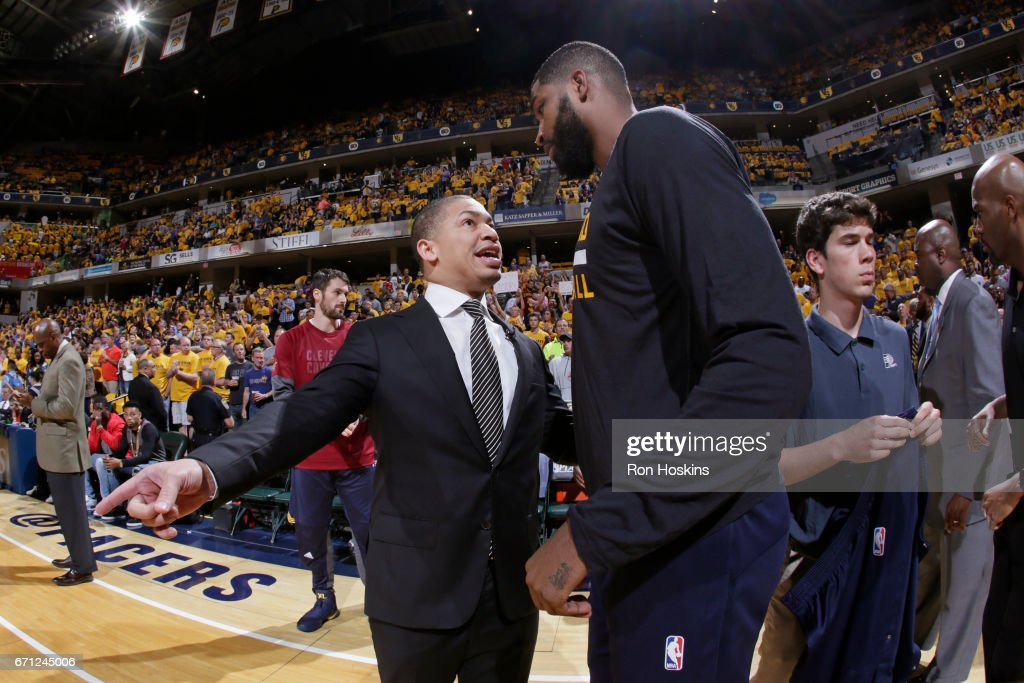 Tyronn Lue coaches Tristan Thompson #13 of the Cleveland Cavaliers before Game Three of the Eastern Conference Quarterfinals against the Indiana Pacers during the 2017 NBA Playoffs at Bankers Life Fieldhouse on April 20, 2017 in Indianapolis, Indiana.