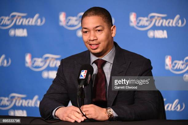 Tyronn Lue of the Cleveland Cavaliers addresses the media before the game against the Cleveland Cavaliers before Game Five of the 2017 NBA Finals on...