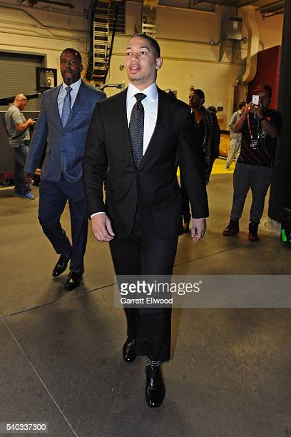 Tyronn Lue of the Cleveland Cavaliers arrives before Game Four of the 2016 NBA Finals against the Golden State Warriors at The Quicken Loans Arena on...