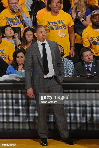 Tyronn Lue of the Cleveland Cavaliers coaches during Game Two of the 2016 NBA Finals against the Golden State Warriors on June 5 2016 at ORACLE Arena...