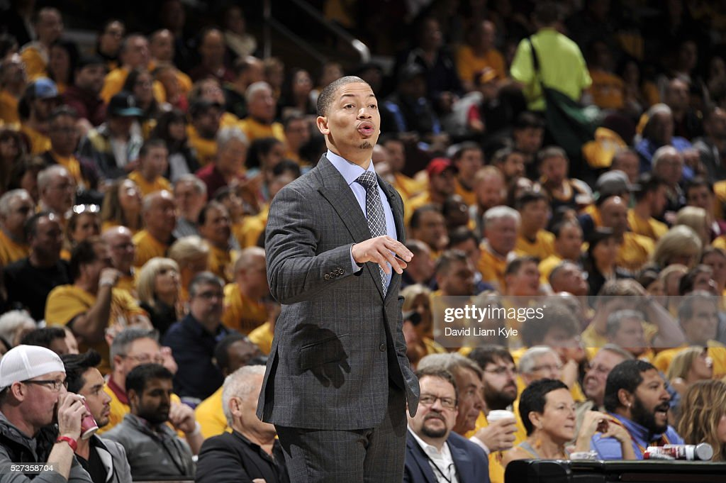 Tyronn Lue of the Cleveland Cavaliers is seen during the game against the Atlanta Hawks in Game One of the Eastern Conference Semifinals of the 2016 NBA Playoffs on May 2, 2016 at The Quicken Loans Arena in Cleveland, Ohio.