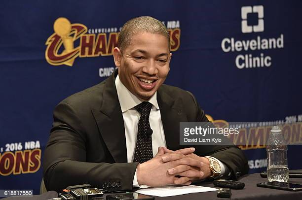 Tyronn Lue of the Cleveland Cavaliers talks to the media during a press conference after the game against the New York Knicks on October 25 2016 at...