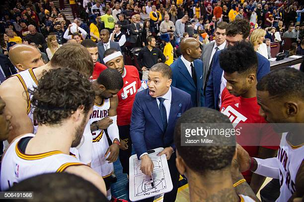 Tyronn Lue of the Cleveland Cavaliers talks to the team prior to the game against the Chicago Bulls at Quicken Loans Arena on January 23 2016 in...