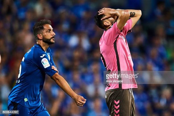 Tyronne del Pino of CD Tenerife reacts during La Liga 2 play off round between Getafe and CD Tenerife at Coliseum Alfonso Perez Stadium on June 24...