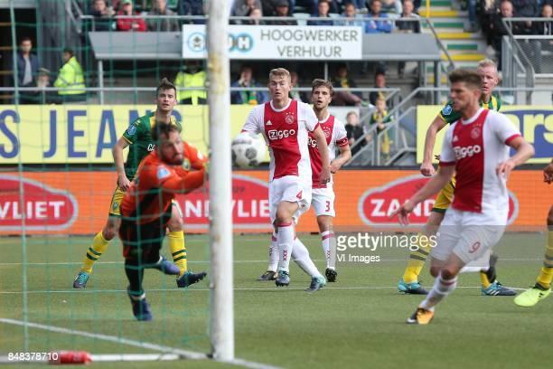 Tyronne Ebuehi of ADO Den Haag Matthijs de Ligt of Ajax Joel Veltman of Ajax Klaas Jan Huntelaar of Ajax during the Dutch Eredivisie match between...