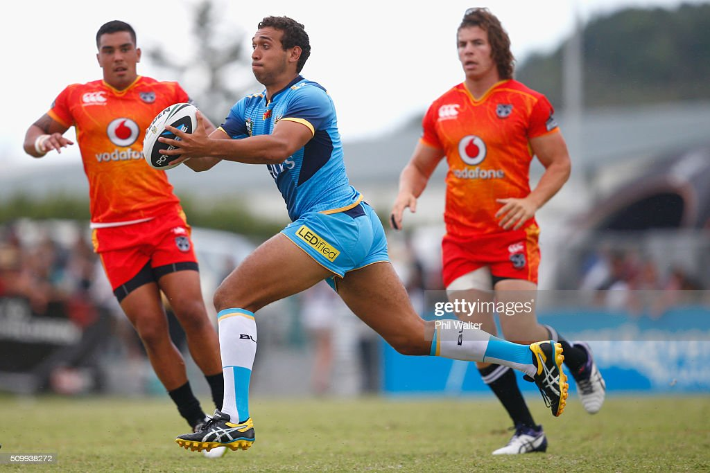 Tyronne Roberts-Davies of the Titans looks to pass the ball during the NRL Trial Match between the New Zealand Warriors and the Gold Coast Titans at Toll Stadium on February 13, 2016 in Whangarei, New Zealand.