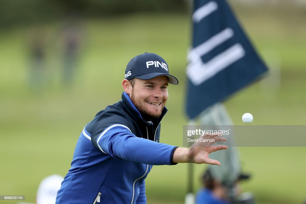 Tyrrell Hatton of England celebrates after he has holed his second shot on the 16th hole for a birdie during the second round of the 2017 Alfred Dunhill Links Championship on the Championship Links at Carnoustie on October 6, 2017 in Carnoustie, Scotland.