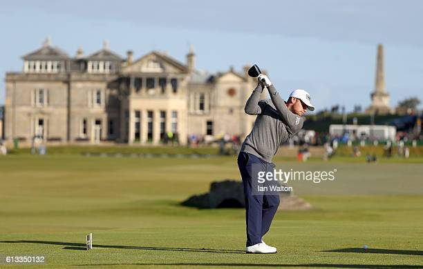 Tyrrell Hatton of England drives off the 18th tee during the third round of the Alfred Dunhill Links Championship at The Old Course on October 8 2016...