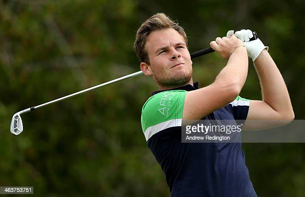 Tyrrell Hatton of England during the final round of the Abu Dhabi HSBC Golf Championship at the Abu Dhabi Golf Cub on January 19 2014 in Abu Dhabi...