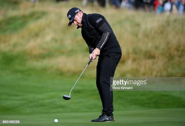 Tyrell Hatton of England hits a putt on the 9th hole during day two of the British Masters at Close House Golf Club on September 29 2017 in Newcastle...