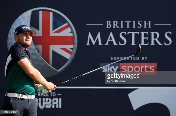 Tyrell Hatton of England hits his tee shot on the 2nd hole during day one of the British Masters at Close House Golf Club on September 28 2017 in...