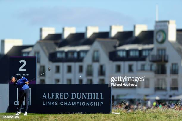 Tyrell Hatton of England in action during day two of the 2017 Alfred Dunhill Championship at Carnoustie on October 6 2017 in Carnoustie Scotland