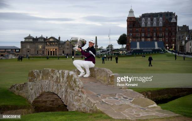 Tyrrell Hatton of England pictured with the winners trophy after the final round of the Alfred Dunhill Links Championship at The Old Course on...