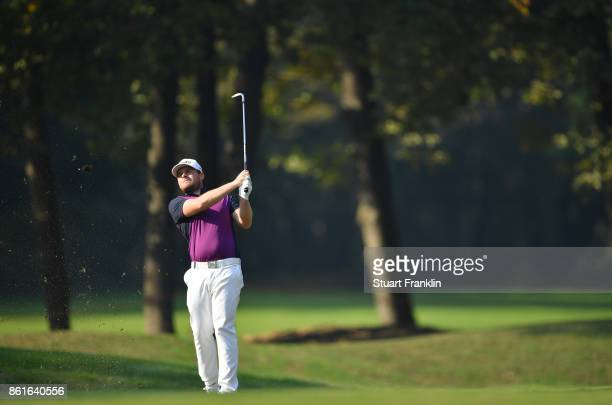 Tyrrell Hatton of England plays a shot during the final round of The Italian Open at Golf Club Milano Parco Reale di Monza on October 15 2017 in...