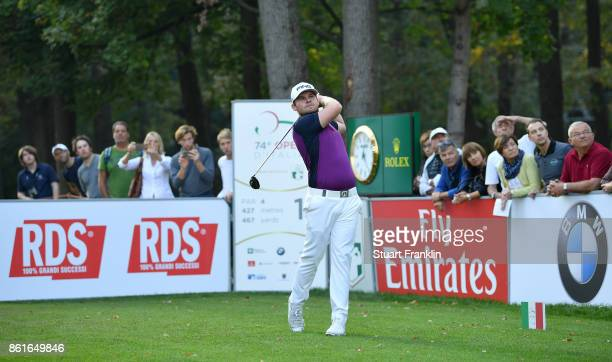 Tyrrell Hatton of England plays a shot on the 18th hole during the final round of The Italian Open at Golf Club Milano Parco Reale di Monza on...